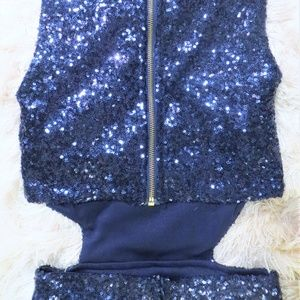 Tobi Dresses - Tobi Navy Blue Sequin Mini Dress with Cut-Out